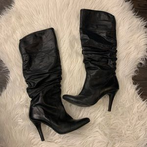Heeled Black Leather Knee-High Boots from Aldo